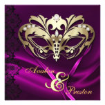 Gold Masquerade Pink Jeweled Wedding Personalized Invitation