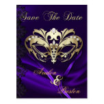 Gold Masquerade Purple Jewel Save The Date Post Cards