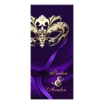 Gold Masquerade Purple Jeweled Wedding Program Custom Rack Card