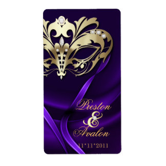 Gold Masquerade Purple Jeweled Wedding Wine Label