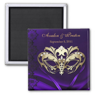 Gold Masquerade Purple Save The Date Magnet
