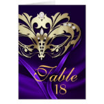 Gold Masquerade Purple Table Number Card