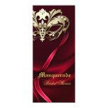 Gold Masquerade Red Bridal Shower Invitation