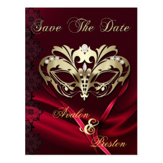 Gold Masquerade Red Jewel Save The Date Postcard