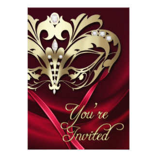 Gold Masquerade Red Jeweled Party Invitation