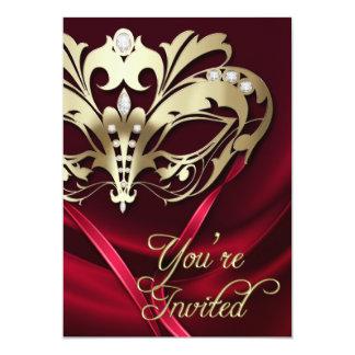 "Gold Masquerade Red Jeweled Party Invitation 5"" X 7"" Invitation Card"