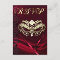 Gold Masquerade Red Jeweled RSVP Invitation