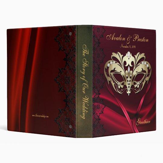 Gold Masquerade Red Jeweled Wedding Binder