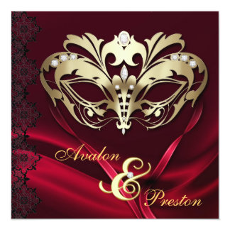 Gold Masquerade Red Jeweled Wedding Card