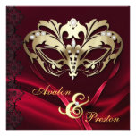 Gold Masquerade Red Jeweled Wedding Personalized Announcements