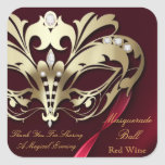 Gold Masquerade Red Party Sticker