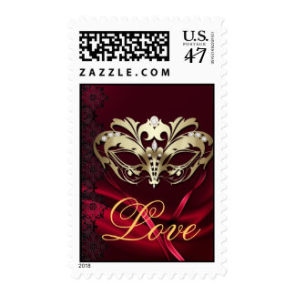 Gold Masquerade Red Valentines Love Postage