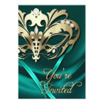 Gold Masquerade Teal Jeweled Party Invitation