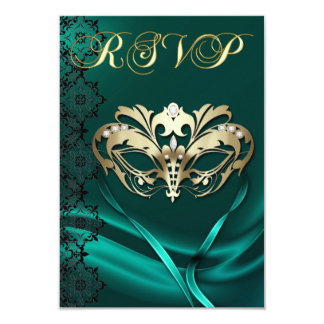 Gold Masquerade Teal Jeweled RSVP Invitation