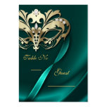 Gold Masquerade Teal Jeweled Table PlaceCard Business Card Templates
