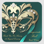 Gold Masquerade Teal Party Sticker