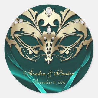 Gold Masquerade Teal Wedding Sticker