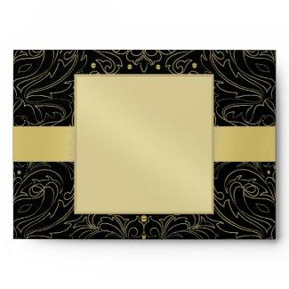 Gold Masqurade Mask Damask Halloween Envelope envelope