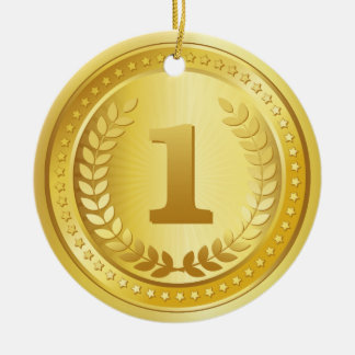 Gold medal 1st place winner button ceramic ornament