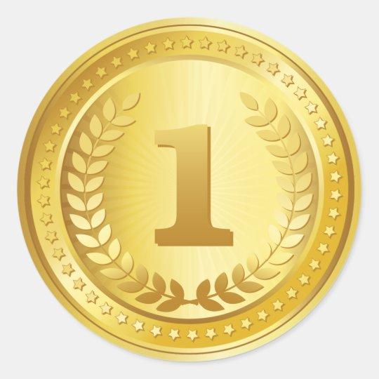 gold medal 1st place winner button classic round sticker zazzle com