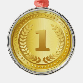 Gold medal 1st place winner button metal ornament