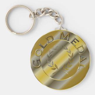 Gold Medal Basic Round Button Keychain
