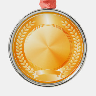 Gold Medal of Honor Round Metal Christmas Ornament