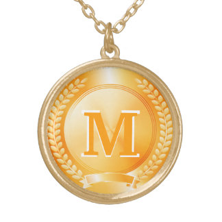 Gold Medal of Honor Round Pendant Necklace