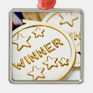 Gold Medal Square Metal Christmas Ornament