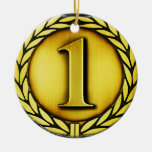 gold medal Double-Sided ceramic round christmas ornament