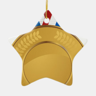 Gold Medal Double-Sided Star Ceramic Christmas Ornament