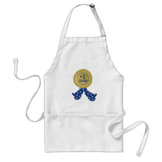 Gold Medal With Blue Ribbon Grad Adult Apron