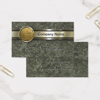 Gold Medallion Green Marble Business Card