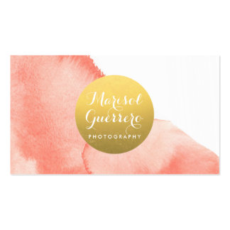 Gold Medallion Watercolor Creative Business Card