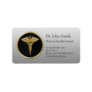Gold Medical Caduceus - Address Label