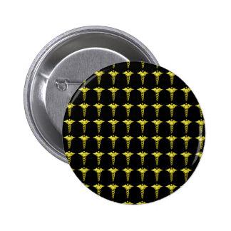 Gold Medical Caduceus Pinback Button