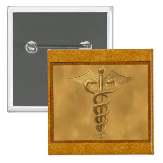 Gold Medical Caduceus 2 Inch Square Button