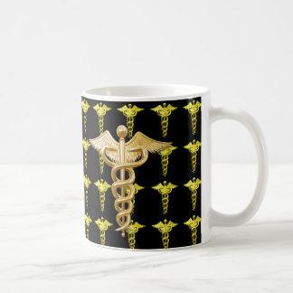 Gold Medical Caduceus Coffee Mug