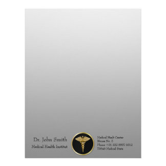 Gold Medical Caduceus - Letterhead Stationery