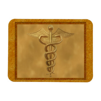 Gold Medical Caduceus Magnet