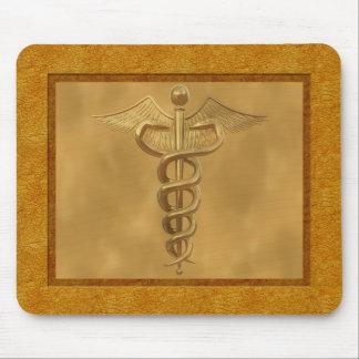Gold Medical Caduceus Mouse Pad
