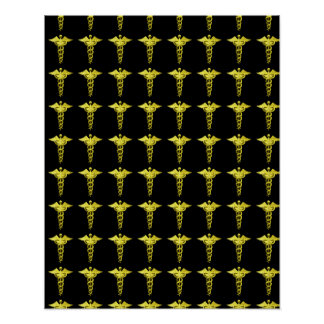 Gold Medical Caduceus Print