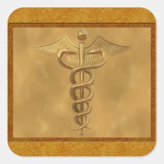 Gold Medical Caduceus Square Sticker