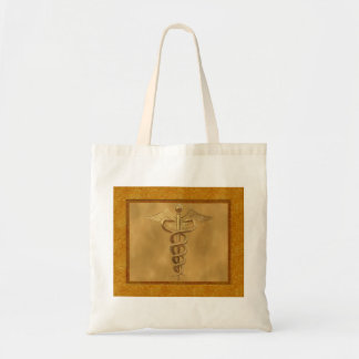 Gold Medical Caduceus Tote Bag