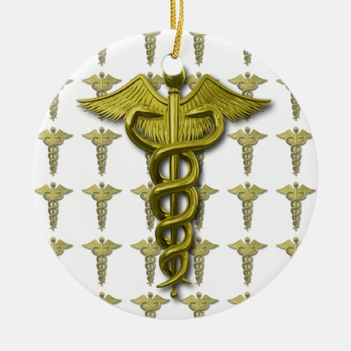 Gold Medical Profession Symbol Double-Sided Ceramic Round Christmas Ornament