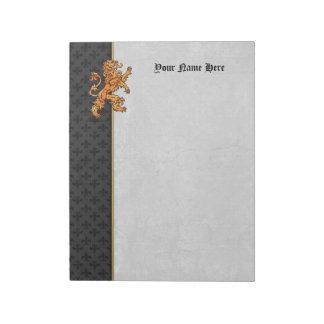 Gold Medieval Lion Black Fleur de Lis Notepad