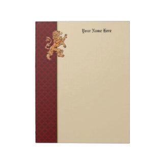 Gold Medieval Lion Red Fleur de Lis Notepad