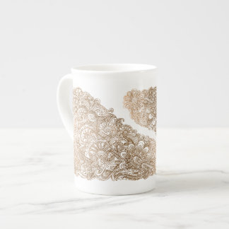 Gold Mehndi Floral Pattern Bone China Mug