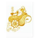 Gold Mehndi henna art Post Card