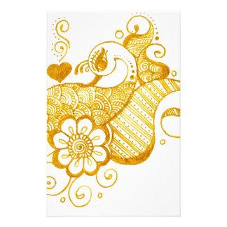 Gold Mehndi henna art Stationery